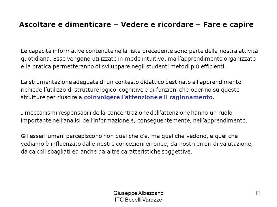 Giuseppe Albezzano ITC Boselli Varazze 11 Le capacità informative contenute nella lista precedente sono parte della nostra attività quotidiana. Esse v