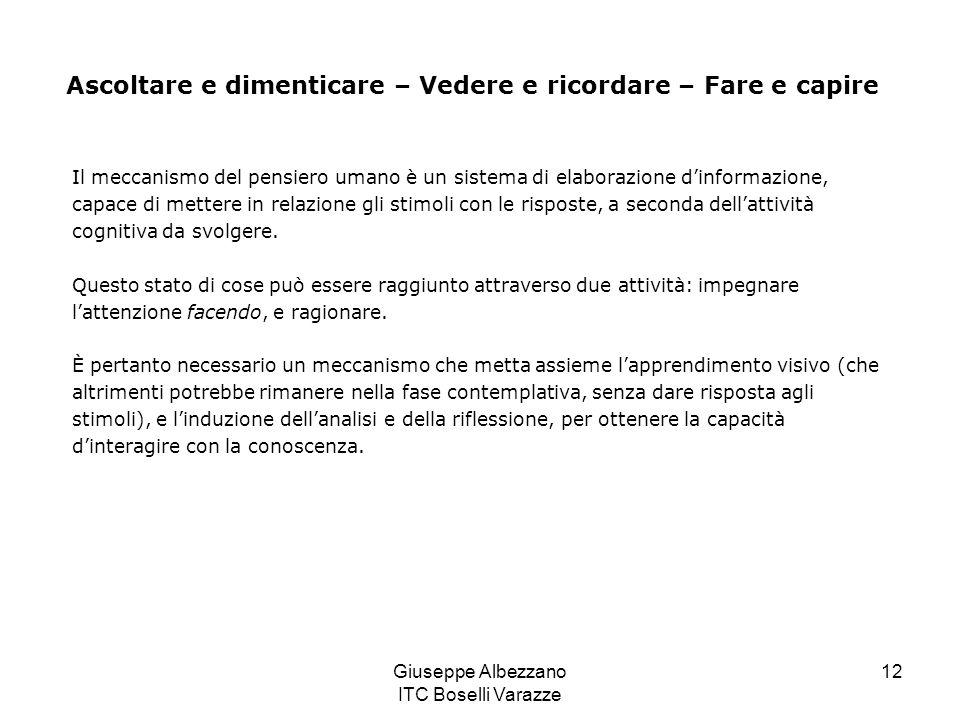Giuseppe Albezzano ITC Boselli Varazze 12 Il meccanismo del pensiero umano è un sistema di elaborazione dinformazione, capace di mettere in relazione