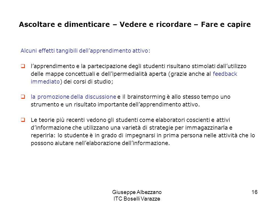 Giuseppe Albezzano ITC Boselli Varazze 16 Alcuni effetti tangibili dellapprendimento attivo: lapprendimento e la partecipazione degli studenti risulta