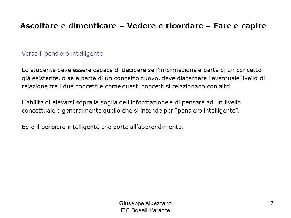 Giuseppe Albezzano ITC Boselli Varazze 17 Verso il pensiero intelligente Lo studente deve essere capace di decidere se linformazione è parte di un con