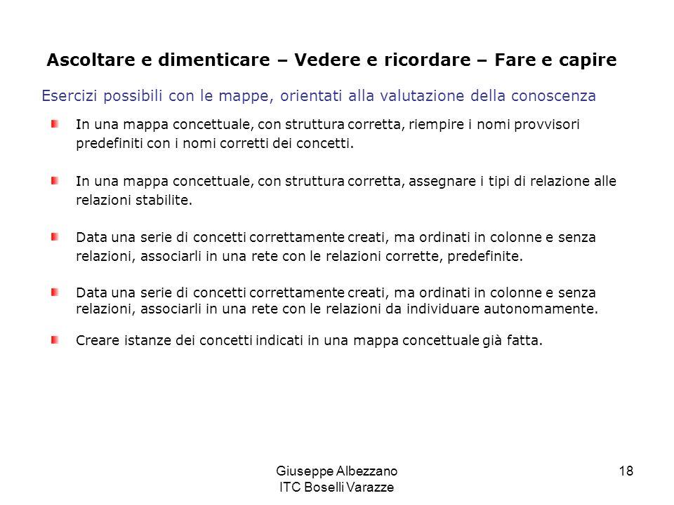 Giuseppe Albezzano ITC Boselli Varazze 18 In una mappa concettuale, con struttura corretta, riempire i nomi provvisori predefiniti con i nomi corretti