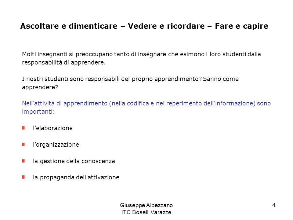 Giuseppe Albezzano ITC Boselli Varazze 4 Molti insegnanti si preoccupano tanto di insegnare che esimono i loro studenti dalla responsabilità di appren