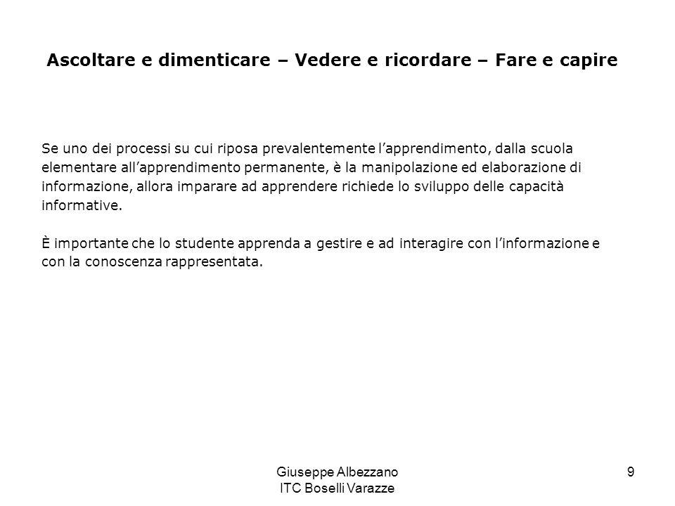 Giuseppe Albezzano ITC Boselli Varazze 9 Se uno dei processi su cui riposa prevalentemente lapprendimento, dalla scuola elementare allapprendimento pe