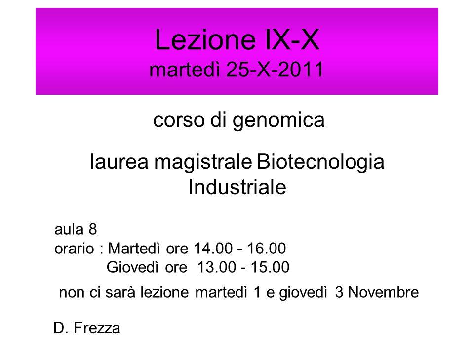 Lezione IX-X martedì 25-X-2011 corso di genomica laurea magistrale Biotecnologia Industriale aula 8 orario : Martedì ore 14.00 - 16.00 Giovedì ore 13.