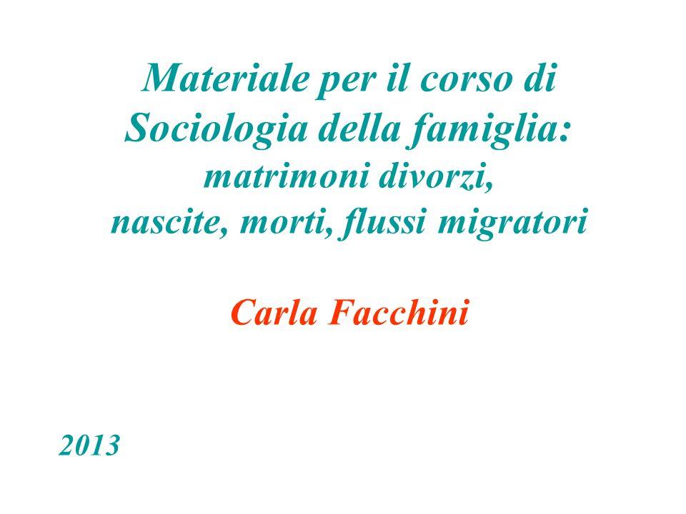 Materiale per il corso di Sociologia della famiglia: matrimoni divorzi, nascite, morti, flussi migratori Carla Facchini 2013