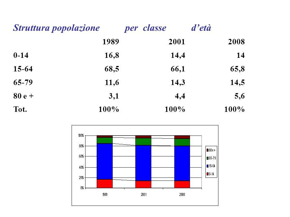 Struttura popolazioneper classedetà 198920012008 0-1416,814,414 15-6468,566,165,8 65-7911,614,314,5 80 e +3,14,45,6 Tot.100%