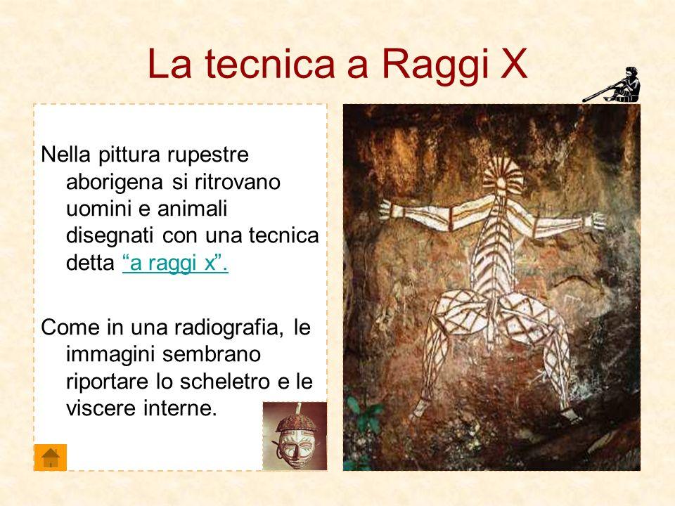 La tecnica a Raggi X Nella pittura rupestre aborigena si ritrovano uomini e animali disegnati con una tecnica detta a raggi x.a raggi x. Come in una r