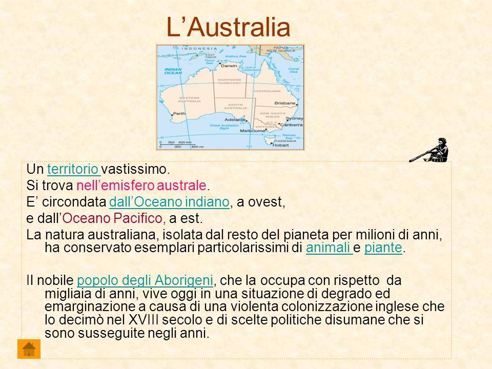 LAustralia Un territorio vastissimo.territorio Si trova nellemisfero australe. E circondata dallOceano indiano, a ovest,dallOceano indiano e dallOcean