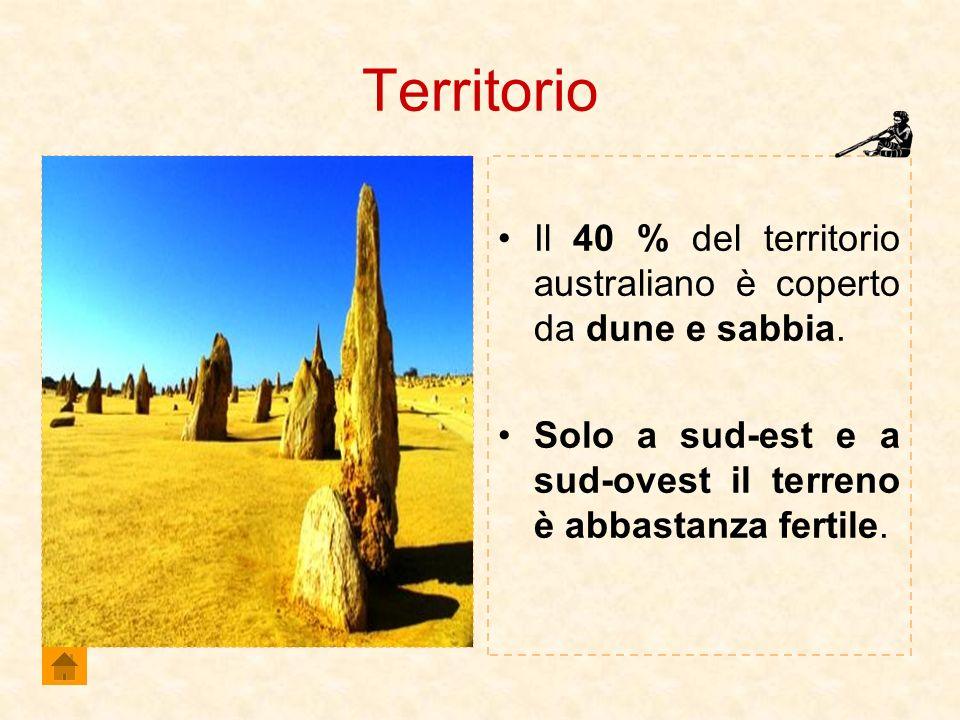 Territorio Il 40 % del territorio australiano è coperto da dune e sabbia. Solo a sud-est e a sud-ovest il terreno è abbastanza fertile.