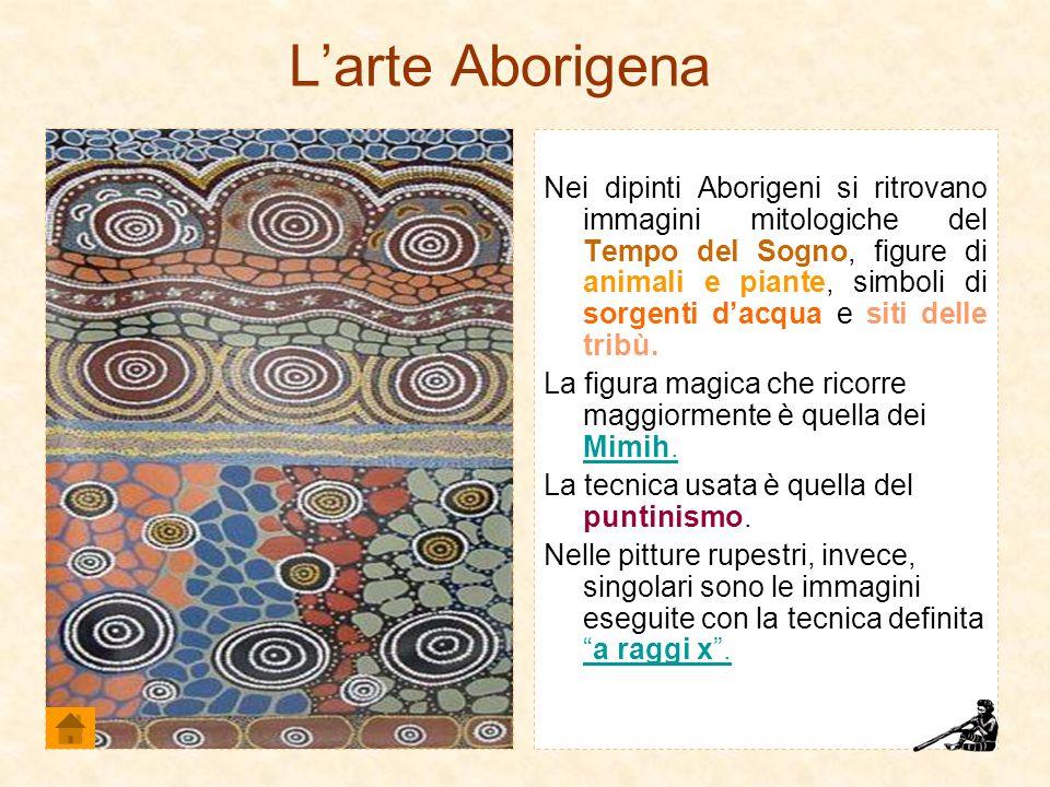 Larte Aborigena Nei dipinti Aborigeni si ritrovano immagini mitologiche del Tempo del Sogno, figure di animali e piante, simboli di sorgenti dacqua e