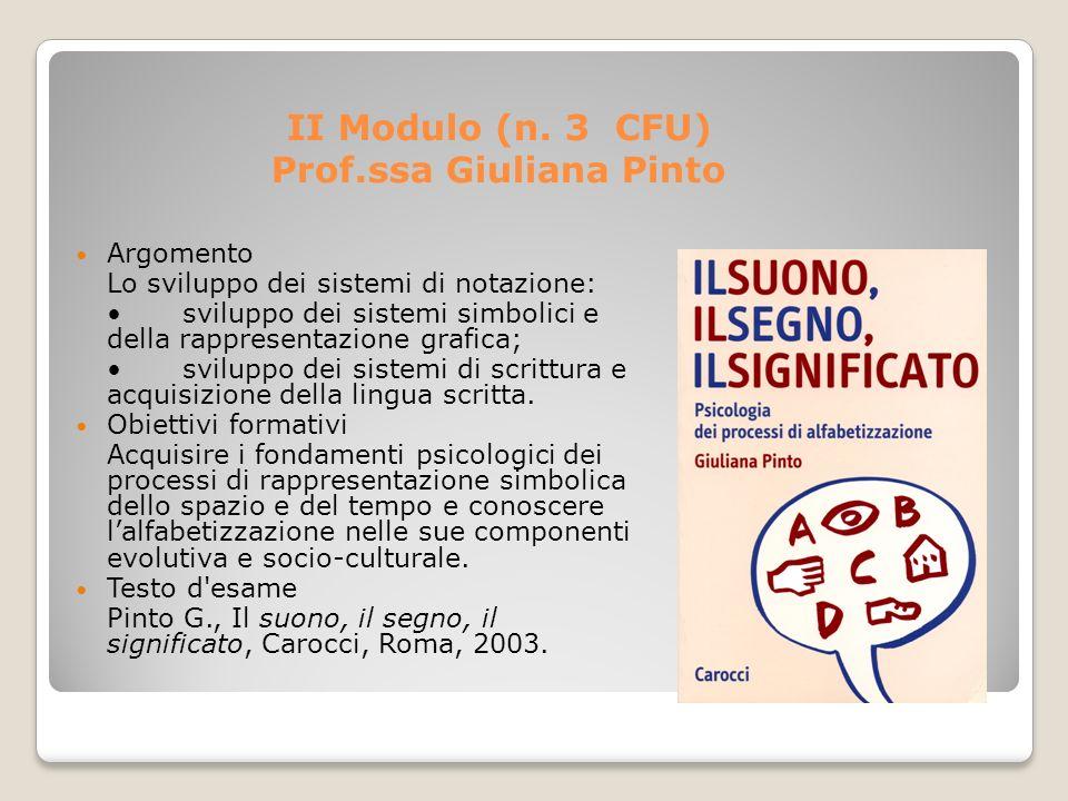 II Modulo (n. 3 CFU) Prof.ssa Giuliana Pinto Argomento Lo sviluppo dei sistemi di notazione: sviluppo dei sistemi simbolici e della rappresentazione g