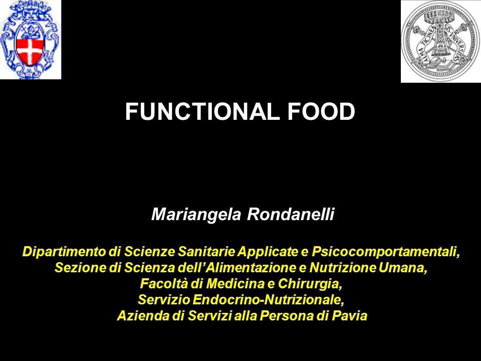 I CIBI FUNZIONALI Per cibo funzionale (FF: functional food) si intende un alimento capace di indurre vantaggi salutistici, al di là del suo contenuto nutrizionale classicamente inteso.