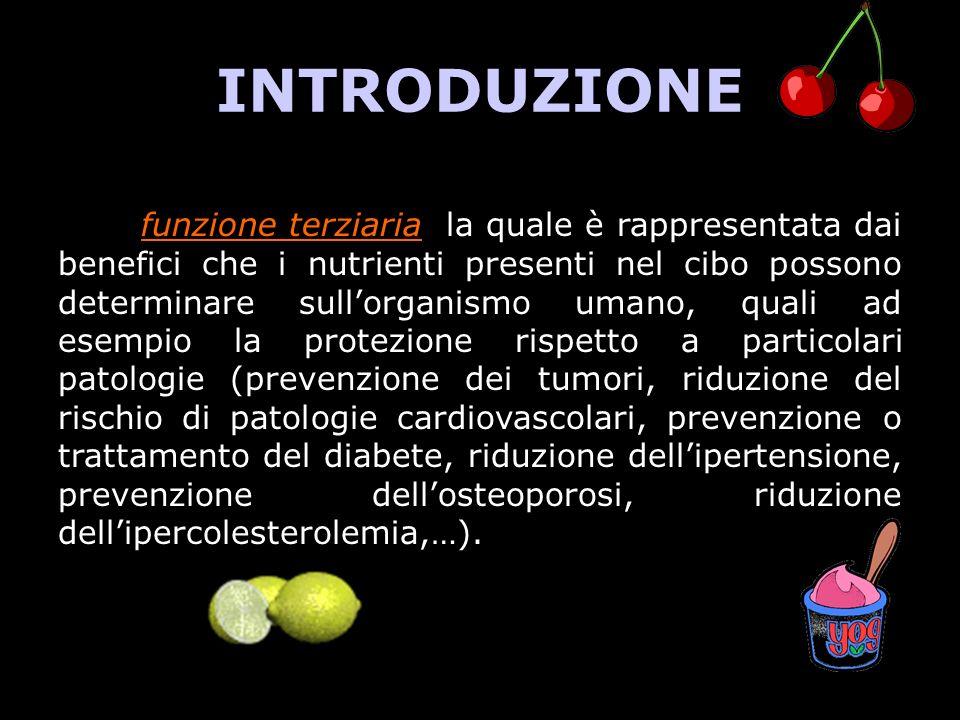 INTRODUZIONE la funzione terziaria, la quale è rappresentata dai benefici che i nutrienti presenti nel cibo possono determinare sullorganismo umano, q