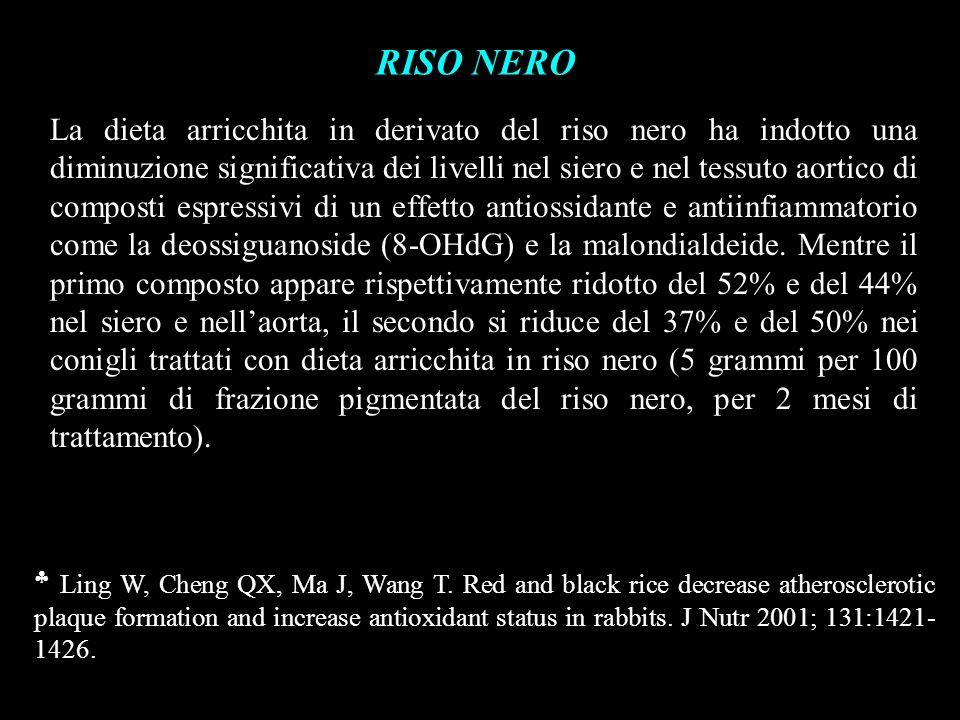 RISO NERO La dieta arricchita in derivato del riso nero ha indotto una diminuzione significativa dei livelli nel siero e nel tessuto aortico di compos