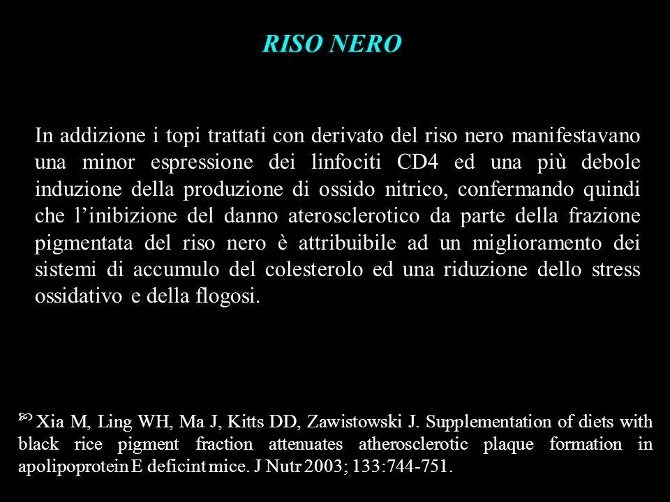 RISO NERO In addizione i topi trattati con derivato del riso nero manifestavano una minor espressione dei linfociti CD4 ed una più debole induzione de