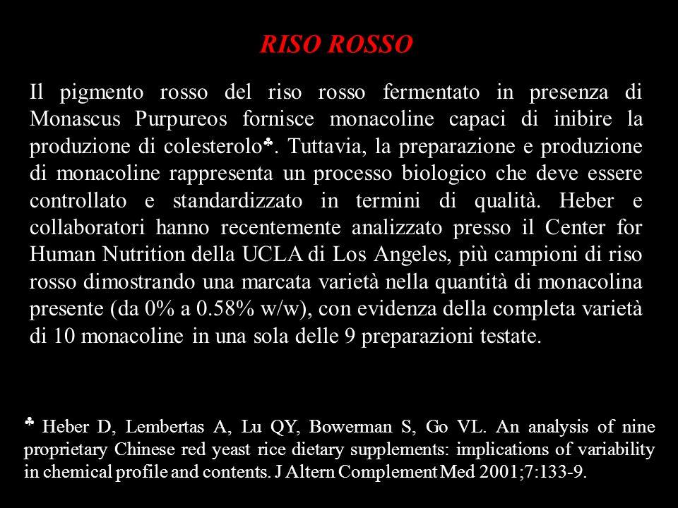 RISO ROSSO Il pigmento rosso del riso rosso fermentato in presenza di Monascus Purpureos fornisce monacoline capaci di inibire la produzione di colest
