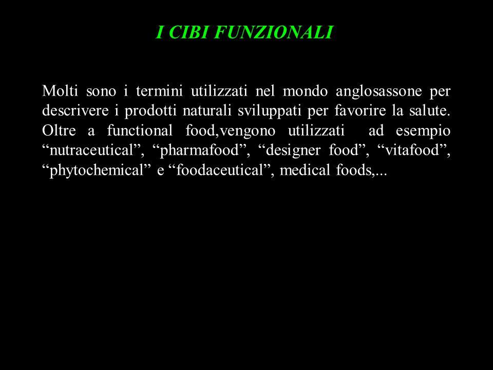 I CIBI FUNZIONALI Molti sono i termini utilizzati nel mondo anglosassone per descrivere i prodotti naturali sviluppati per favorire la salute. Oltre a