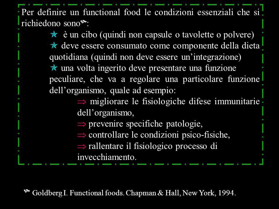Per definire un functional food le condizioni essenziali che si richiedono sono : è un cibo (quindi non capsule o tavolette o polvere) deve essere con