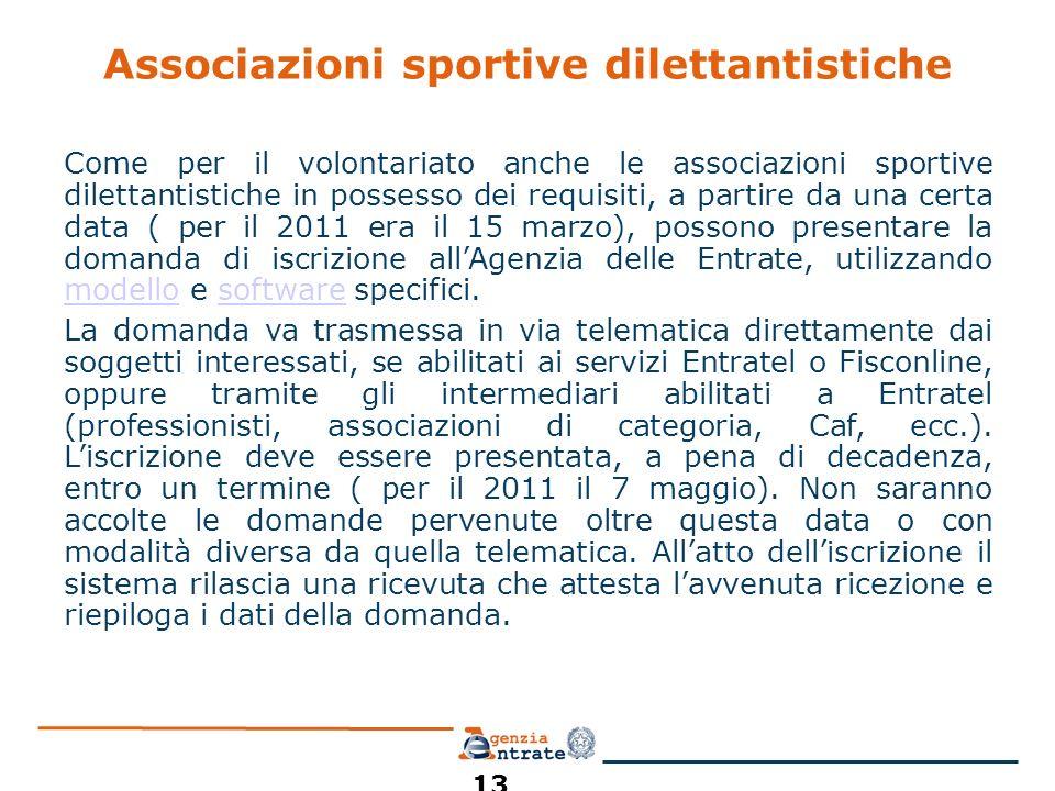Associazioni sportive dilettantistiche Come per il volontariato anche le associazioni sportive dilettantistiche in possesso dei requisiti, a partire da una certa data ( per il 2011 era il 15 marzo), possono presentare la domanda di iscrizione allAgenzia delle Entrate, utilizzando modello e software specifici.