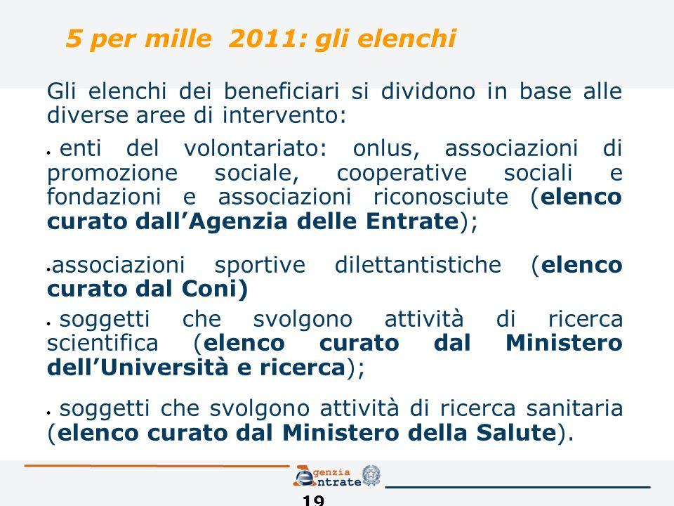 19 5 per mille 2011: gli elenchi Gli elenchi dei beneficiari si dividono in base alle diverse aree di intervento: enti del volontariato: onlus, associ