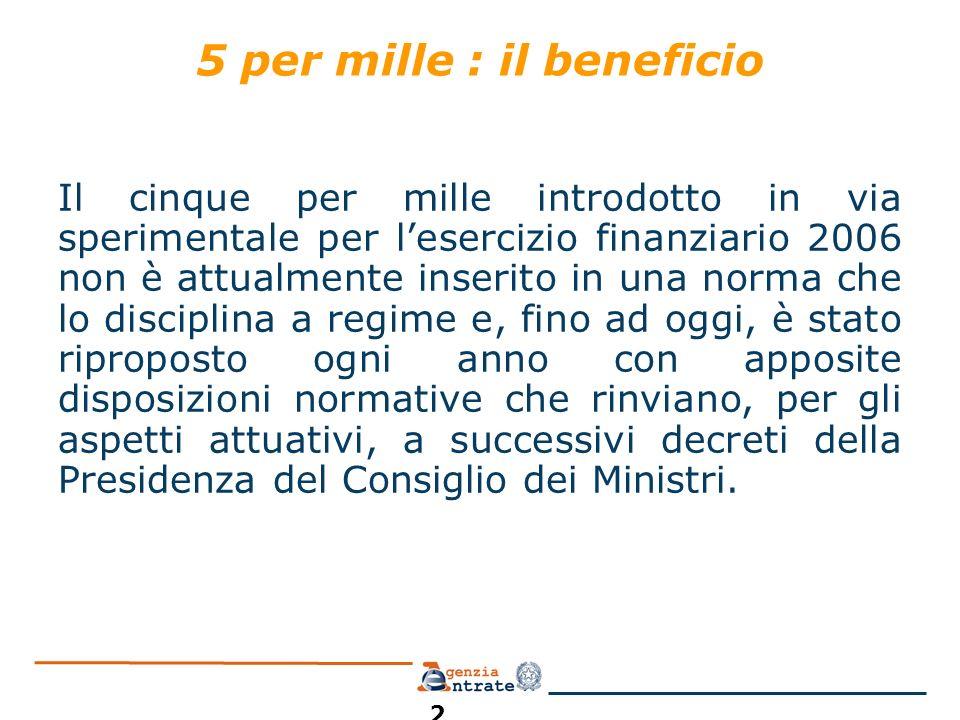 5 per mille : il beneficio Il cinque per mille introdotto in via sperimentale per lesercizio finanziario 2006 non è attualmente inserito in una norma