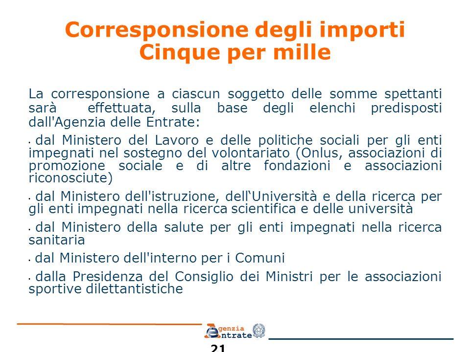 Corresponsione degli importi Cinque per mille La corresponsione a ciascun soggetto delle somme spettanti sarà effettuata, sulla base degli elenchi pre