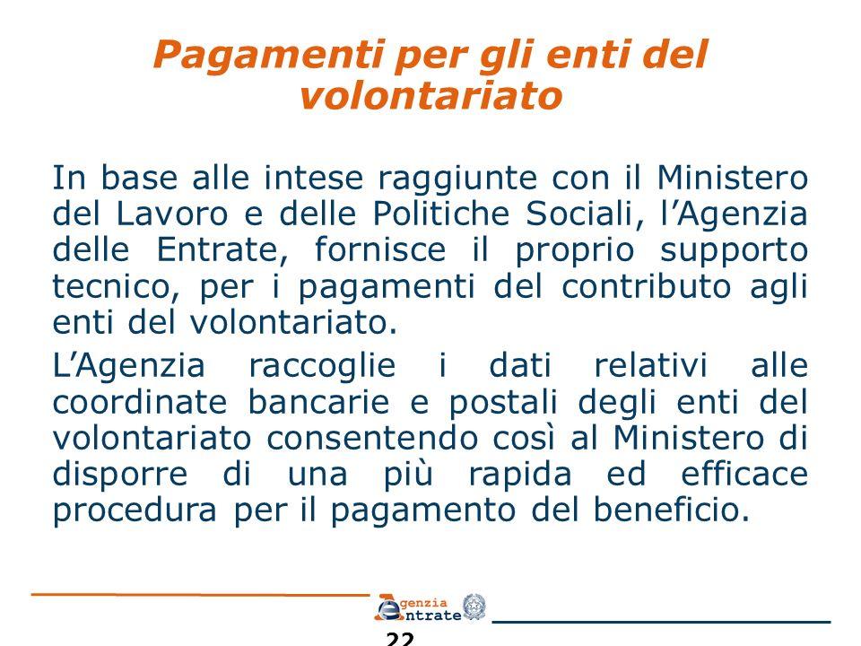 Pagamenti per gli enti del volontariato In base alle intese raggiunte con il Ministero del Lavoro e delle Politiche Sociali, lAgenzia delle Entrate, f
