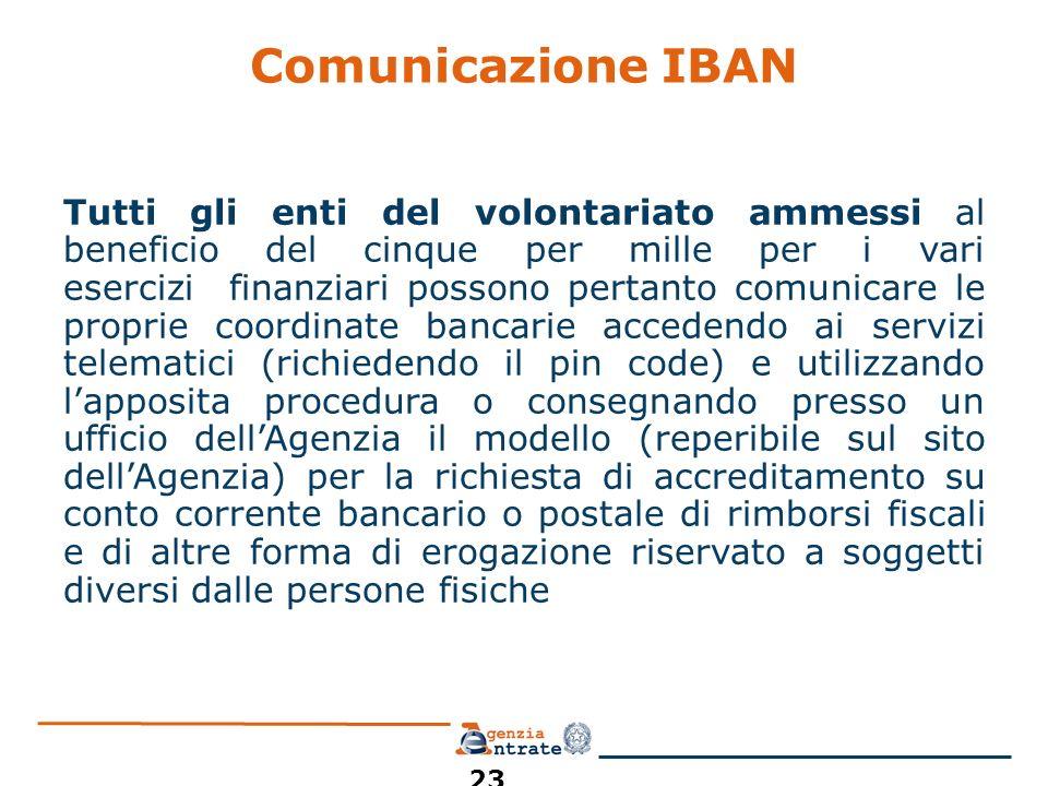 Comunicazione IBAN Tutti gli enti del volontariato ammessi al beneficio del cinque per mille per i vari esercizi finanziari possono pertanto comunicar