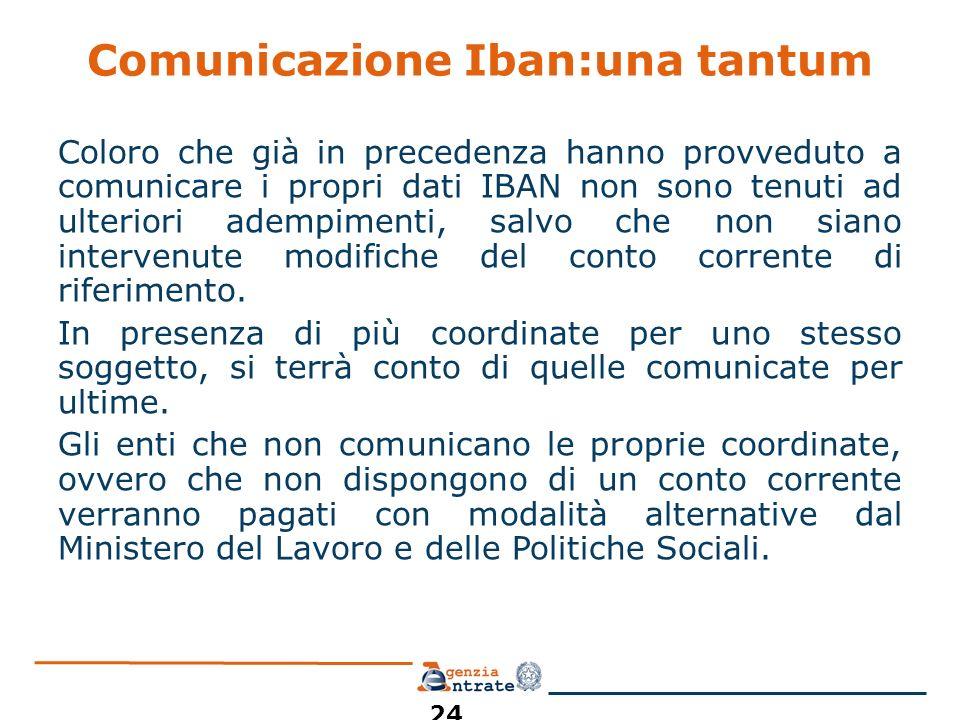 Comunicazione Iban:una tantum Coloro che già in precedenza hanno provveduto a comunicare i propri dati IBAN non sono tenuti ad ulteriori adempimenti, salvo che non siano intervenute modifiche del conto corrente di riferimento.