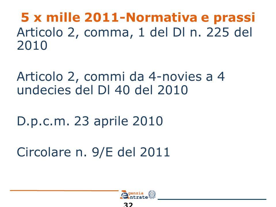 5 x mille 2011-Normativa e prassi Articolo 2, comma, 1 del Dl n. 225 del 2010 Articolo 2, commi da 4-novies a 4 undecies del Dl 40 del 2010 D.p.c.m. 2