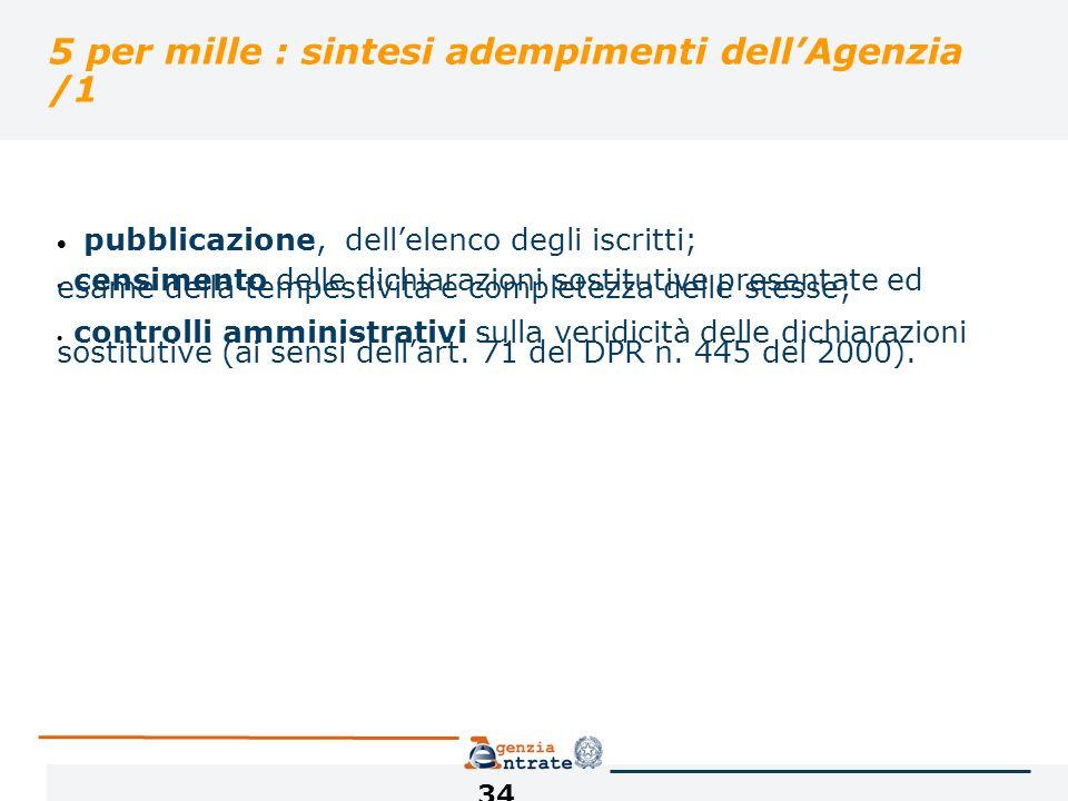 34 5 per mille : sintesi adempimenti dellAgenzia /1 pubblicazione, dellelenco degli iscritti; censimento delle dichiarazioni sostitutive presentate ed