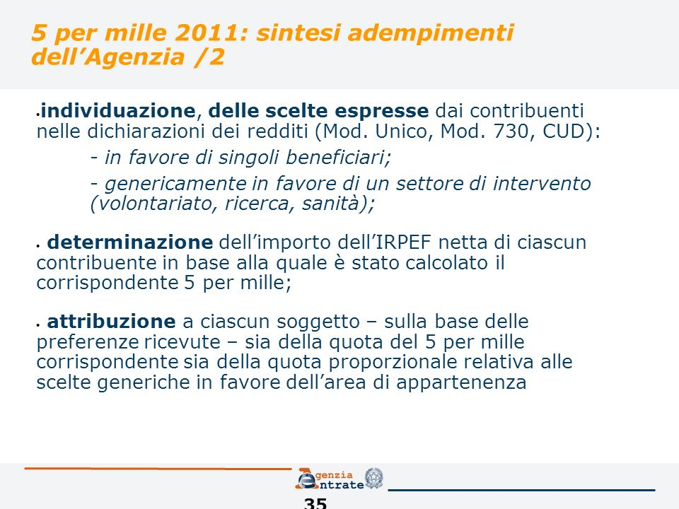 35 5 per mille 2011: sintesi adempimenti dellAgenzia /2 individuazione, delle scelte espresse dai contribuenti nelle dichiarazioni dei redditi (Mod.