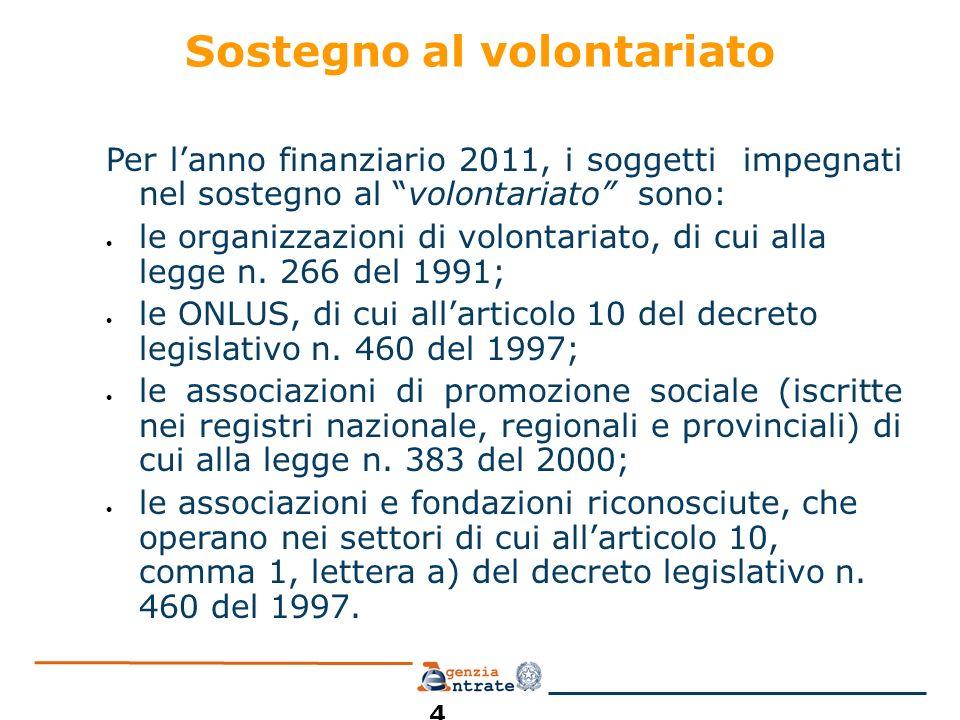 Sostegno al volontariato Per lanno finanziario 2011, i soggetti impegnati nel sostegno al volontariato sono: le organizzazioni di volontariato, di cui alla legge n.