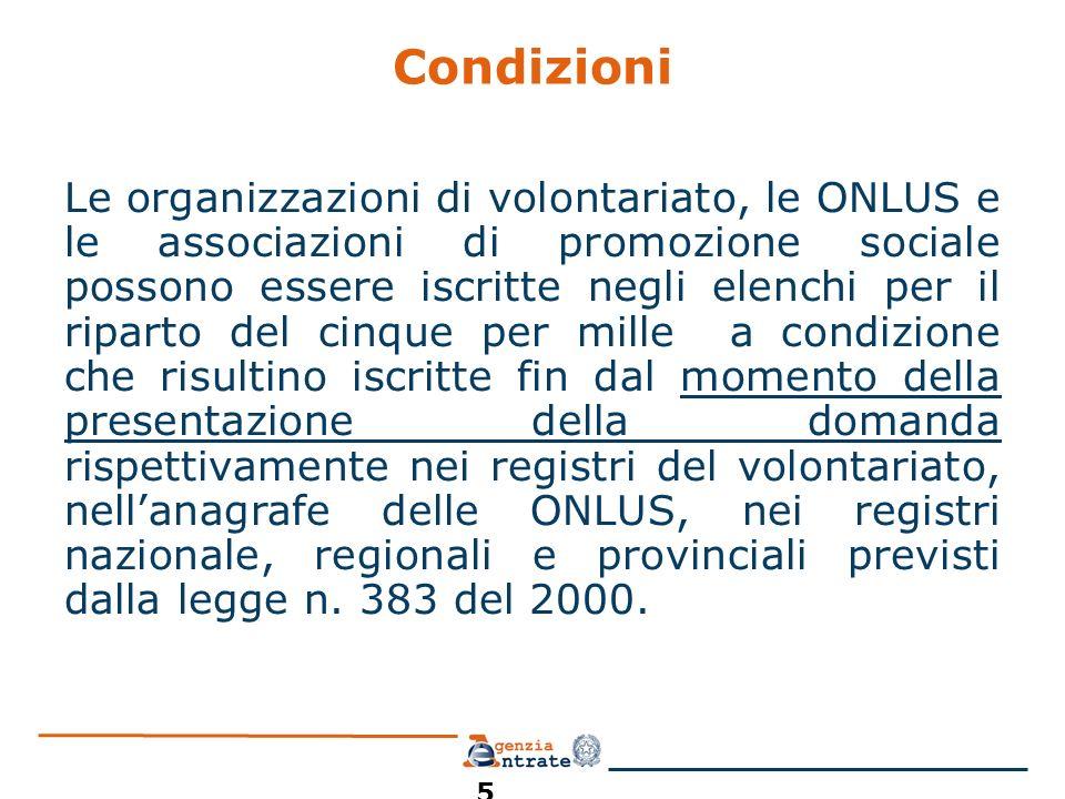 Condizioni Le organizzazioni di volontariato, le ONLUS e le associazioni di promozione sociale possono essere iscritte negli elenchi per il riparto de