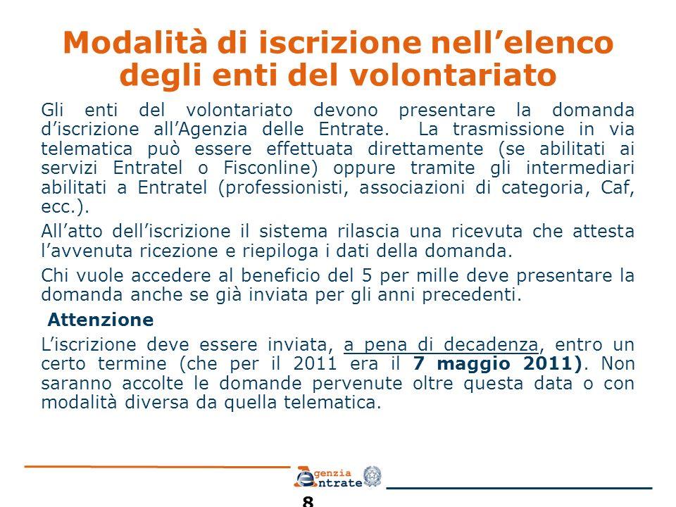 Modalità di iscrizione nellelenco degli enti del volontariato Gli enti del volontariato devono presentare la domanda discrizione allAgenzia delle Entrate.