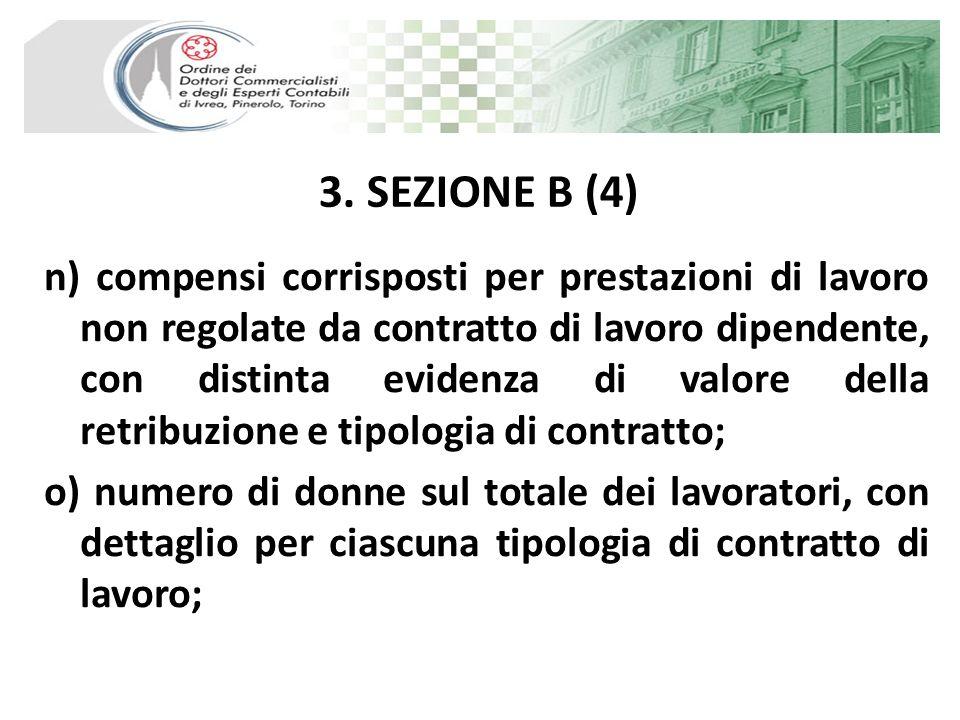 3. SEZIONE B (4) n) compensi corrisposti per prestazioni di lavoro non regolate da contratto di lavoro dipendente, con distinta evidenza di valore del