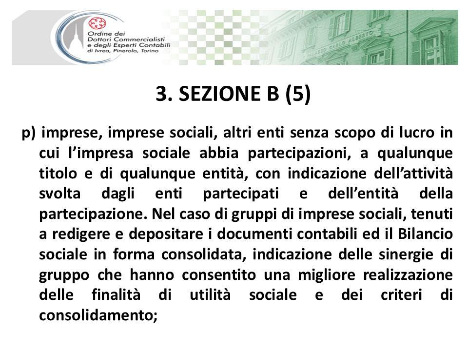 3. SEZIONE B (5) p) imprese, imprese sociali, altri enti senza scopo di lucro in cui limpresa sociale abbia partecipazioni, a qualunque titolo e di qu