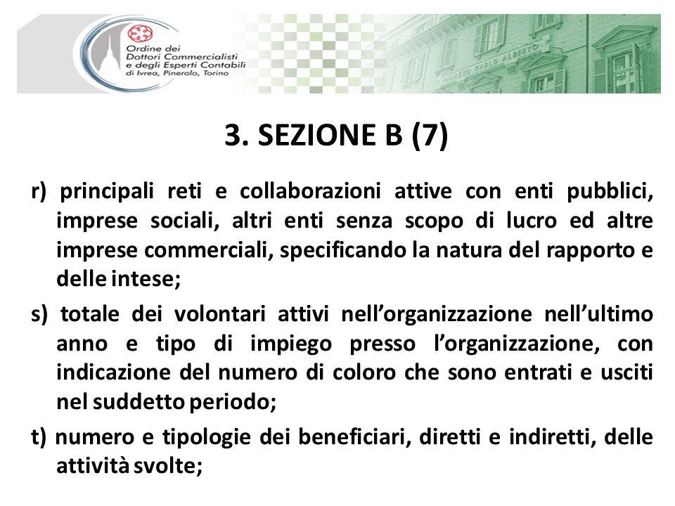 3. SEZIONE B (7) r) principali reti e collaborazioni attive con enti pubblici, imprese sociali, altri enti senza scopo di lucro ed altre imprese comme