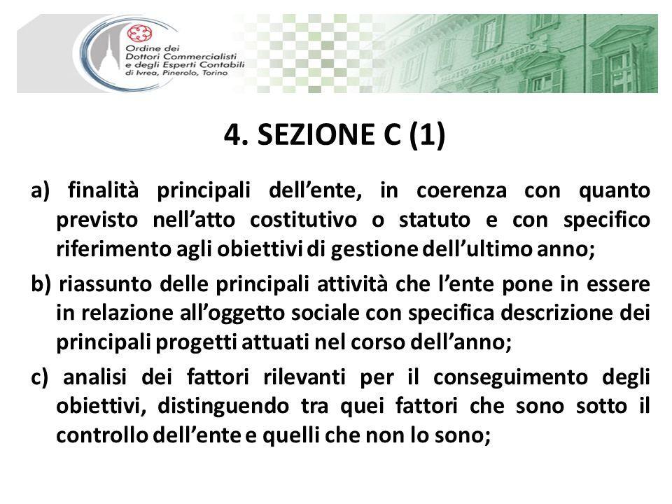 4. SEZIONE C (1) a) finalità principali dellente, in coerenza con quanto previsto nellatto costitutivo o statuto e con specifico riferimento agli obie