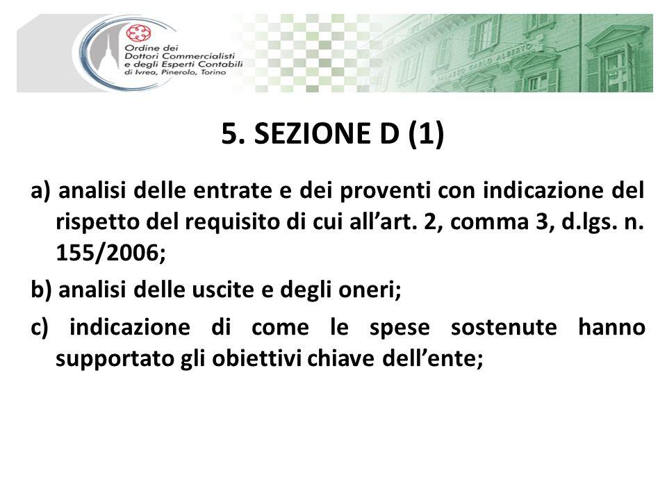 5. SEZIONE D (1) a) analisi delle entrate e dei proventi con indicazione del rispetto del requisito di cui allart. 2, comma 3, d.lgs. n. 155/2006; b)