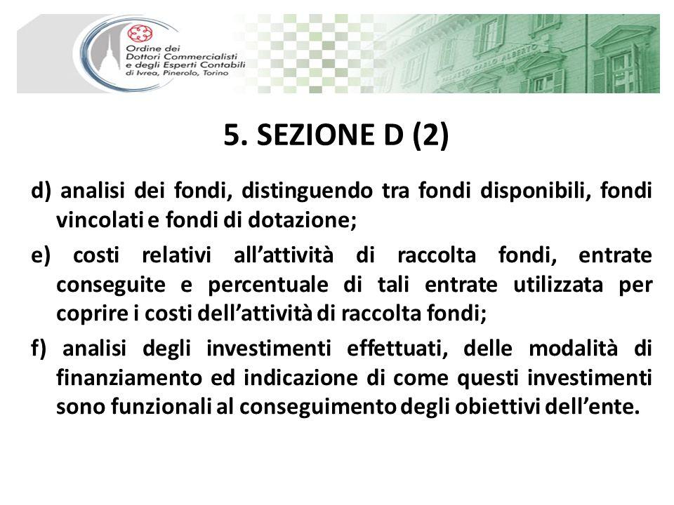5. SEZIONE D (2) d) analisi dei fondi, distinguendo tra fondi disponibili, fondi vincolati e fondi di dotazione; e) costi relativi allattività di racc