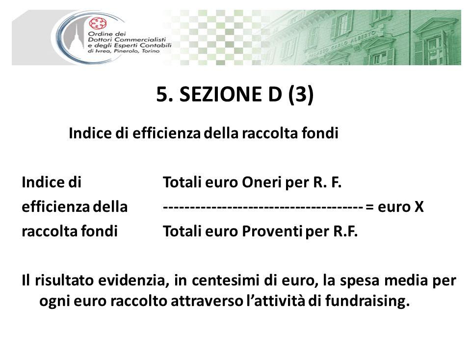 5. SEZIONE D (3) Indice di efficienza della raccolta fondi Indice di Totali euro Oneri per R. F. efficienza della ------------------------------------