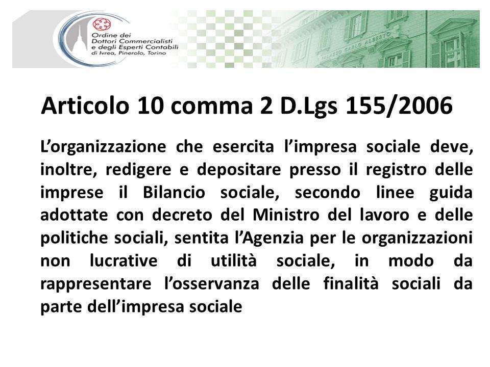 Articolo 10 comma 2 D.Lgs 155/2006 Lorganizzazione che esercita limpresa sociale deve, inoltre, redigere e depositare presso il registro delle imprese