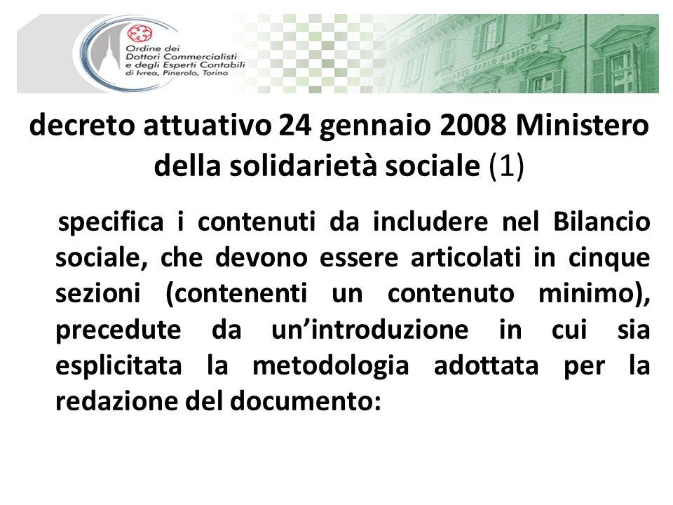 decreto attuativo 24 gennaio 2008 Ministero della solidarietà sociale (1) specifica i contenuti da includere nel Bilancio sociale, che devono essere a