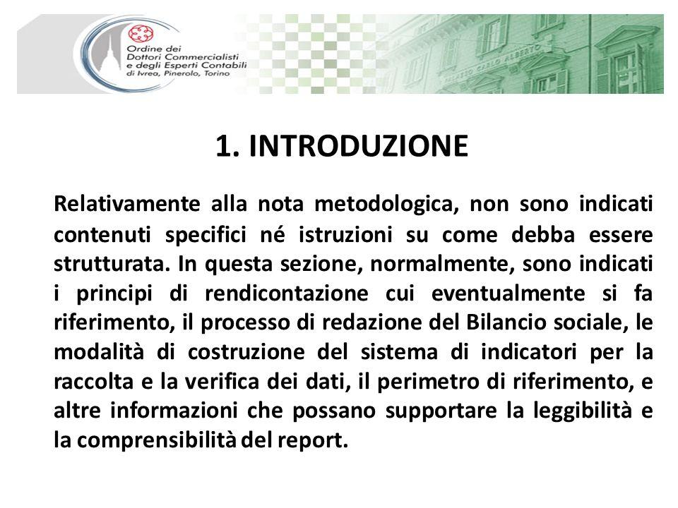 1. INTRODUZIONE Relativamente alla nota metodologica, non sono indicati contenuti specifici né istruzioni su come debba essere strutturata. In questa