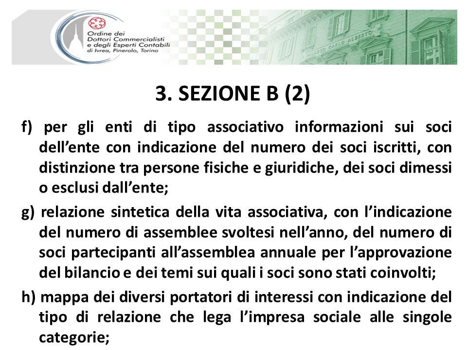 3. SEZIONE B (2) f) per gli enti di tipo associativo informazioni sui soci dellente con indicazione del numero dei soci iscritti, con distinzione tra