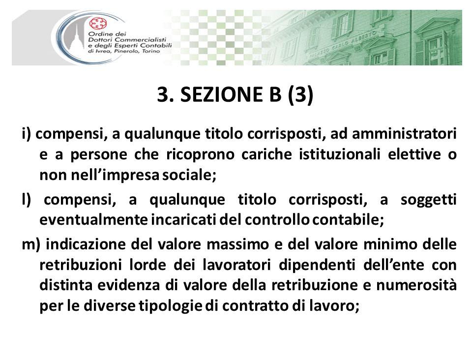 3. SEZIONE B (3) i) compensi, a qualunque titolo corrisposti, ad amministratori e a persone che ricoprono cariche istituzionali elettive o non nellimp