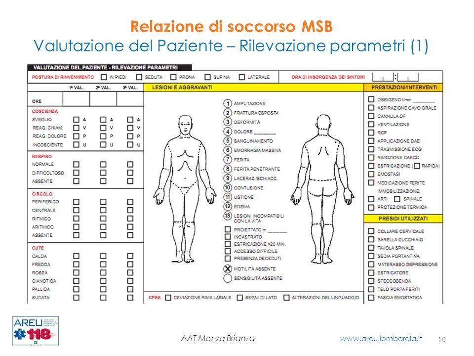 Relazione di soccorso MSB Valutazione del Paziente – Rilevazione parametri (1) 10 AAT Monza Brianza www.areu.lombardia.it