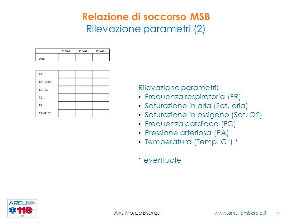Relazione di soccorso MSB Rilevazione parametri (2) 11 AAT Monza Brianza www.areu.lombardia.it Rilevazione parametri: Frequenza respiratoria (FR) Satu