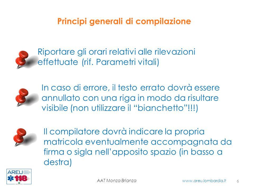 Relazione di soccorso MSB Destinazione e codici di intervento 17 AAT Monza Brianza www.areu.lombardia.it Nota Non riportare il codice di trasporto in caso di rifiuto trasporto.